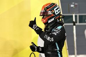 George Russell, Mercedes-AMG F1, gives a thumbs up in Parc Ferme after Qualifying on the front row
