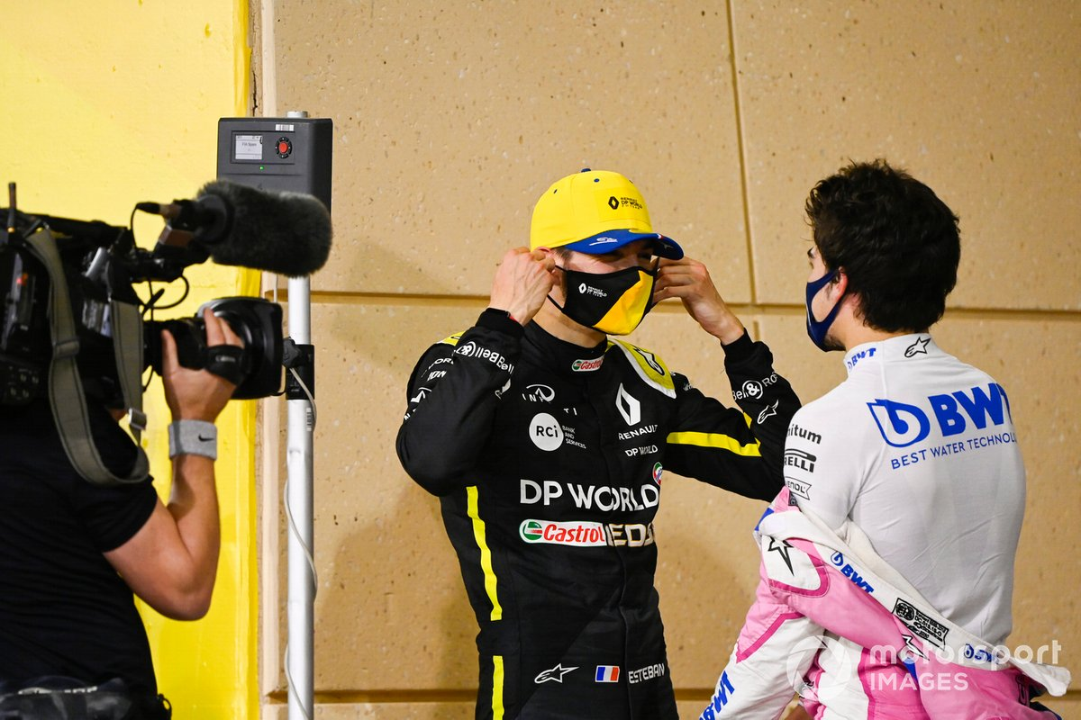 Esteban Ocon, Renault F1, 2°posto, e Lance Stroll, Racing Point, 3°posto, nel Parco Chiuso
