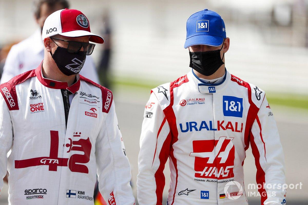Kimi Raikkonen, Alfa Romeo e Mick Schumacher, Haas F1