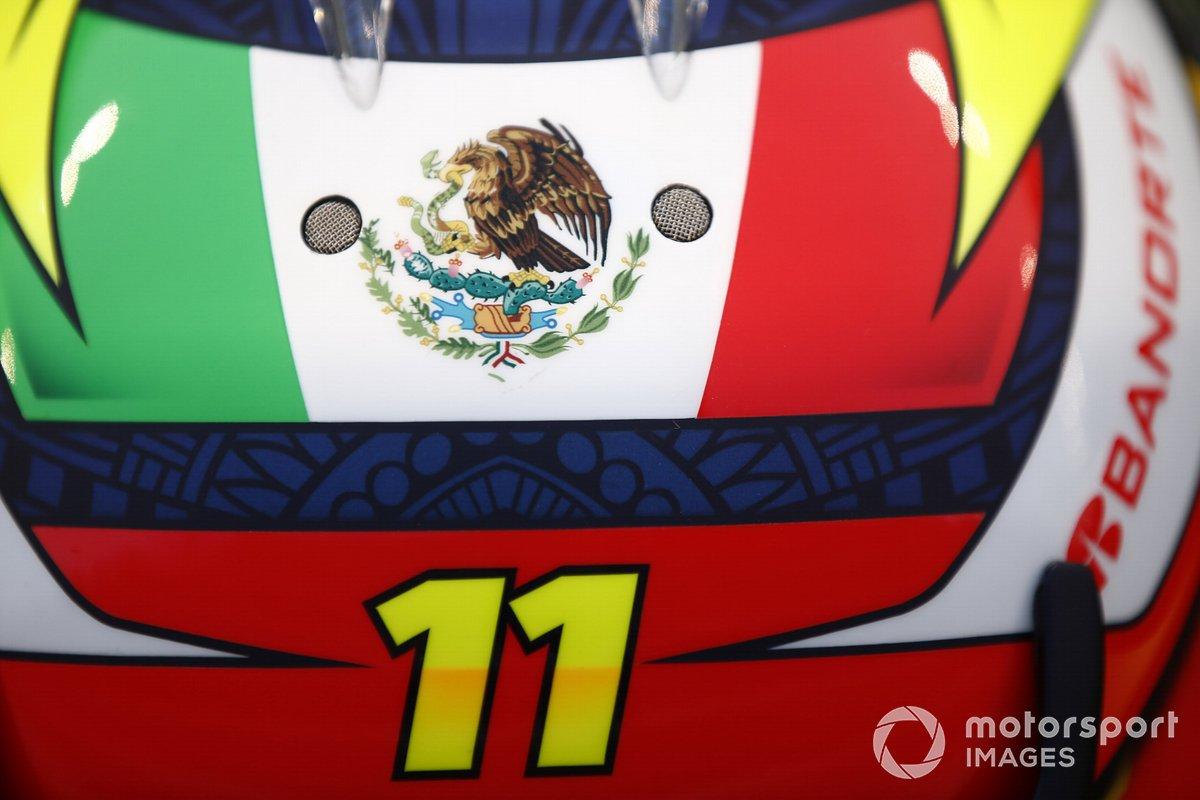 Detalle del casco de Sergio Pérez, Red Bull Racing