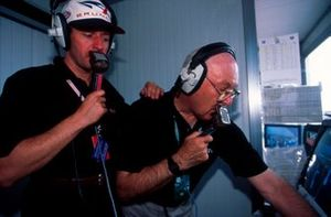 Murray Walker and Co-commentator Martin Brundle, right in full flow in their F1 commentary box.