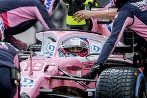 Lance Stroll, Racing Point RP20, in the pit lane