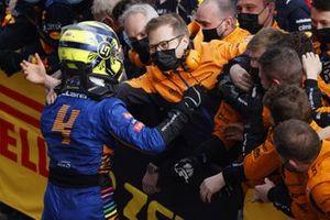 Lando Norris, McLaren, 2nd position, celebrates with Andreas Seidl, Team Principal, McLaren, and his team in Parc Ferme