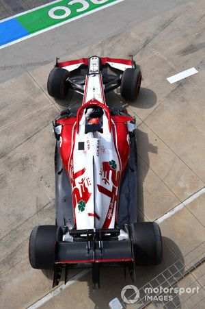 Kimi Raikkonen, Alfa Romeo Racing C41, leaves the garage