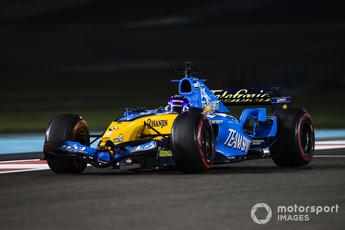Fernando Alonso drives his 2005 Championship winning Renault F1 Team R25