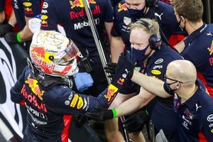 Max Verstappen, Red Bull Racing, is congratulated by his team