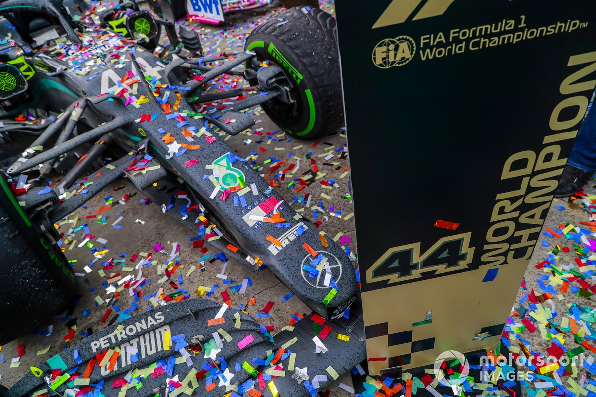 Car of Lewis Hamilton, Mercedes-AMG F1, after winning the race, to take his 7th World Championship title