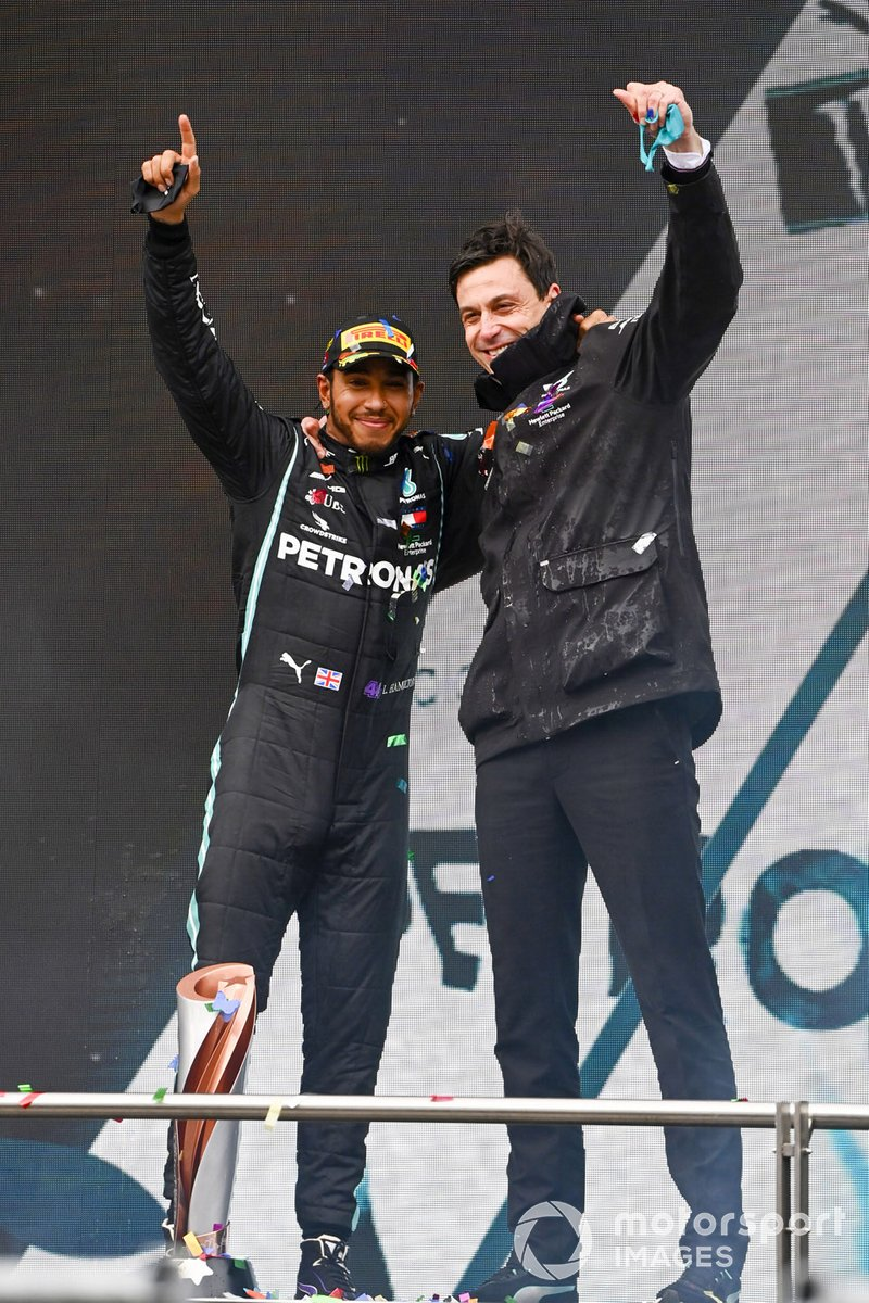 Lewis Hamilton, Mercedes-AMG F1, after winning the race, to take his 7th World Championship title, with Toto Wolff, Executive Director (Business), Mercedes AMG
