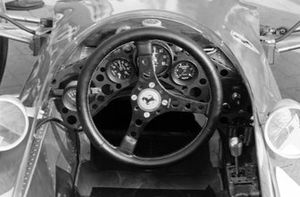 The steering wheel and dash of the Ferrari 246