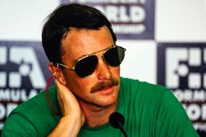 Nigel Mansell, Williams, in the press conference