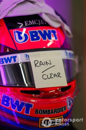 The helmet of Sergio Perez, Racing Point, fitted with rain visor