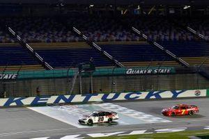 Harrison Burton, Joe Gibbs Racing, Toyota Supra Dex Imaging and Justin Allgaier, JR Motorsports, Chevrolet Camaro Thank You Team BRANDT