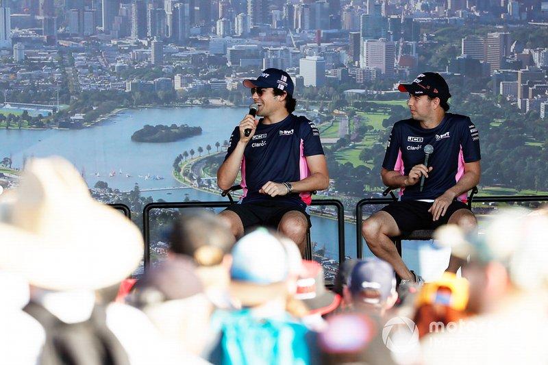 Sergio Perez, Racing Point, e Lance Stroll, Racing Point, sul palco