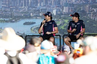 Sergio Perez, Racing Point, and Lance Stroll, Racing Point, on stage