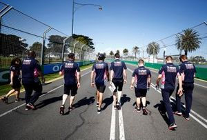Lance Stroll, Racing Point on his track walk with members of the team.