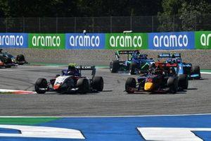 Igor Fraga, Charouz Racing System, leads Dennis Hauger, Hitech Grand Prix, Federico Malvestiti, Jenzer Motorsport, and Cameron Das, Carlin