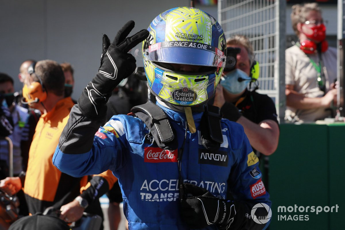 Lando Norris, McLaren MCL35, celebrates his podium finish