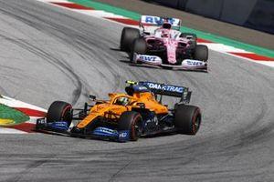 Lando Norris, McLaren MCL35 leads Sergio Perez, Racing Point RP20