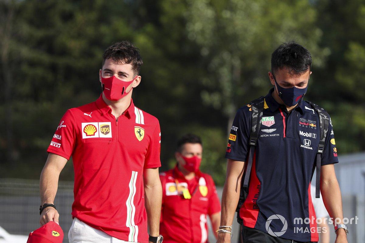 Charles Leclerc, Ferrari y Alex Albon, Red Bull Racing