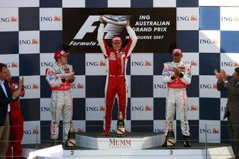 Podium: race winner Kimi Raikkonen, Ferrari, second place Fernando Alonso, McLaren, third placed Lewis Hamilton, McLaren