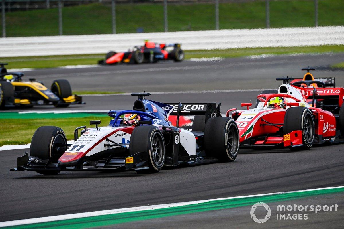 Louis Deletraz, Charouz Racing System, precede Mick Schumacher, Prema Racing, e Yuki Tsunoda, Carlin
