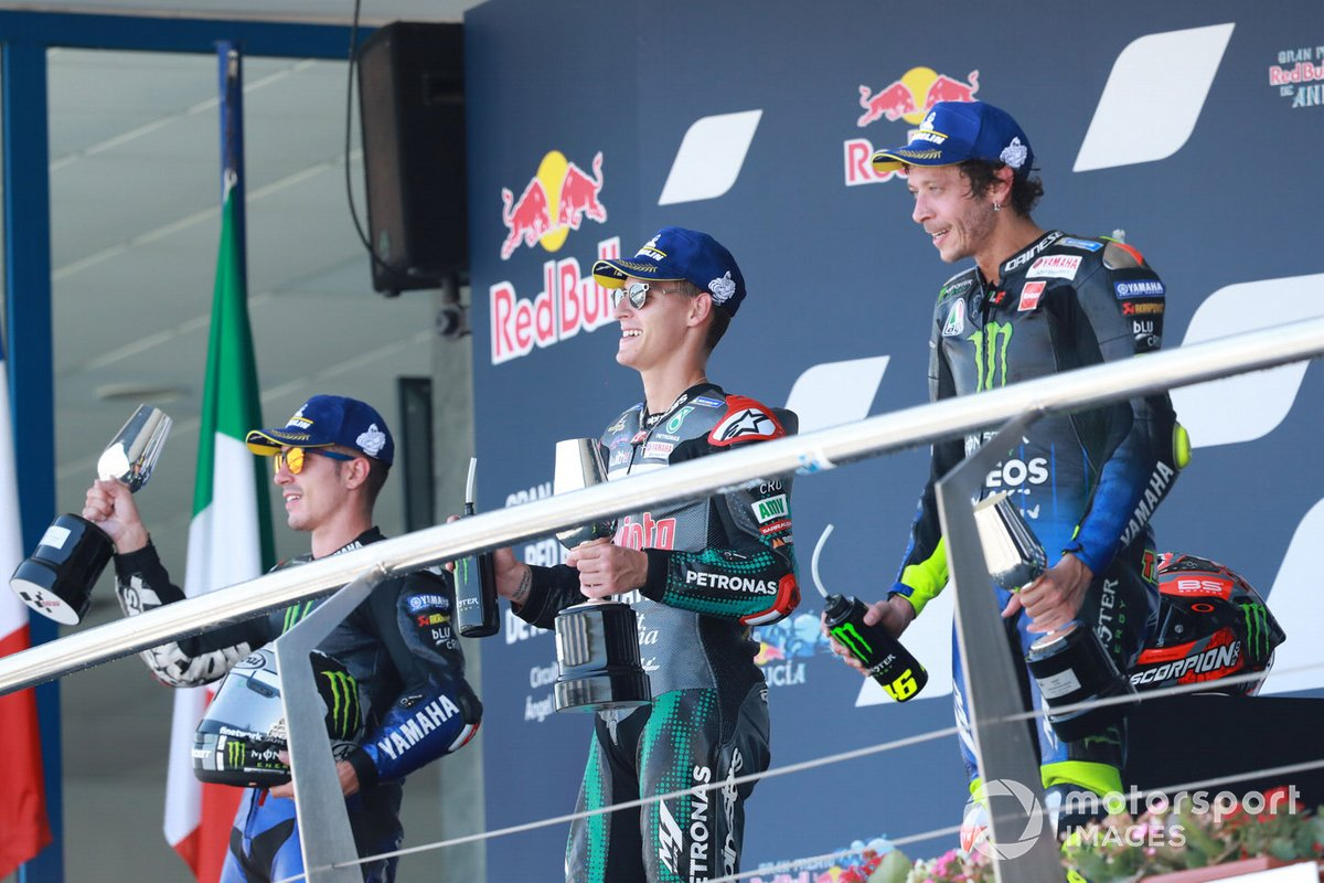 Podio: il vincitore della gara Fabio Quartararo, Petronas Yamaha SRT, secondo classificato Maverick Vinales, Yamaha Factory Racing, terzo classificato Valentino Rossi, Yamaha Factory Racing
