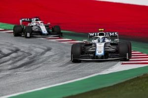 Nicholas Latifi, Williams FW43, leads George Russell, Williams FW43