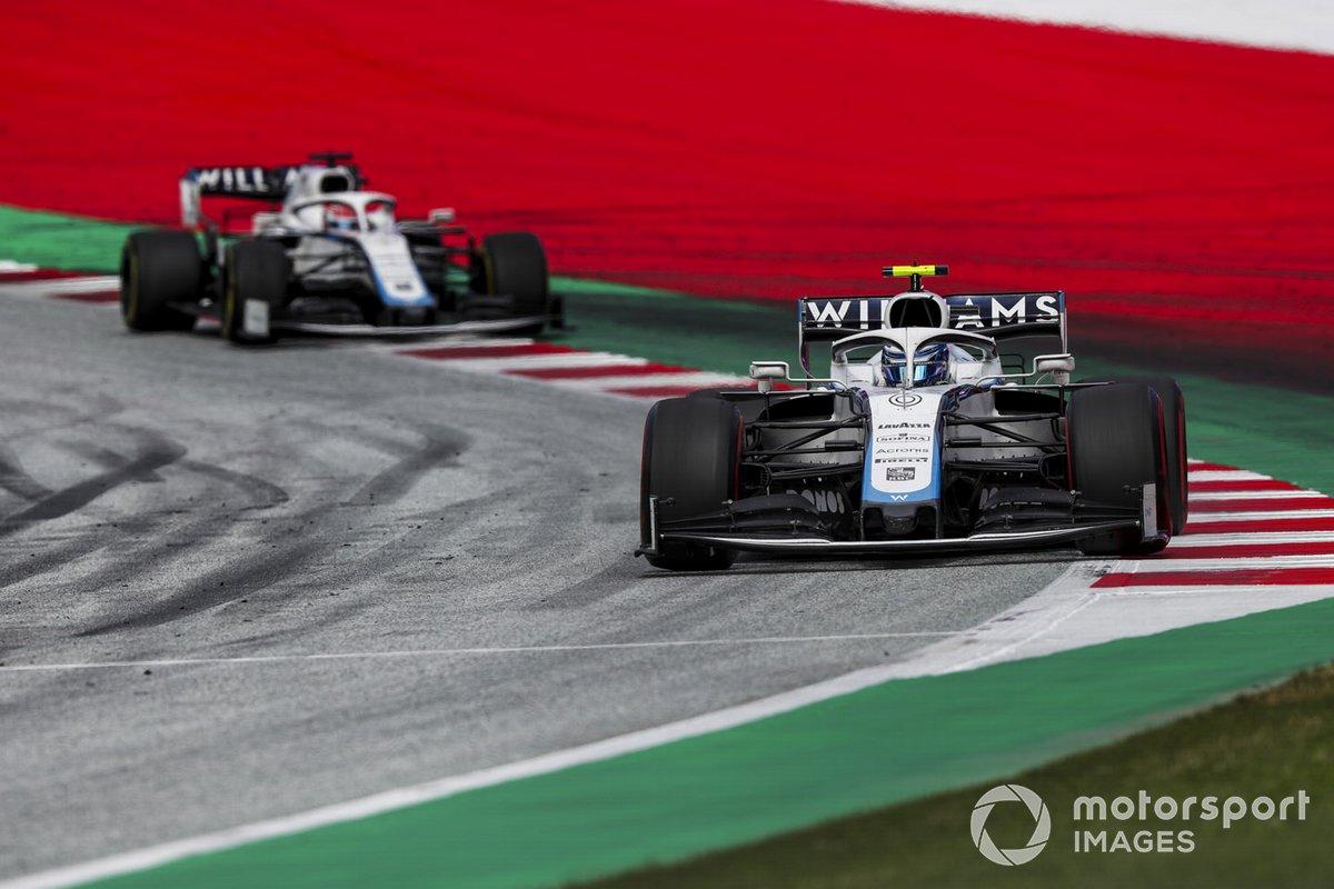 Nicholas Latifi, Williams FW43, leads George Russell, Williams FW43