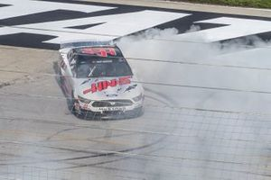 Cole Custer, Stewart-Haas Racing, Ford Mustang HaasTooling.com does a burn out to celebrate his victory