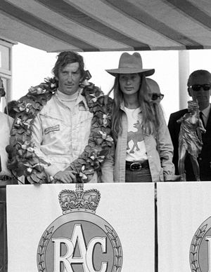 Winner Jochen Rindt, Lotus, with his wife Nina Rindt