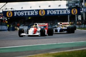 Ayrton Senna, McLaren MP4-8 Ford, leads Alain Prost, Williams FW15C Renault