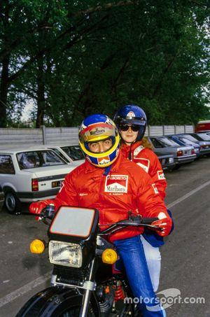 Michele Alboreto, Ferrari y su esposa Nadia