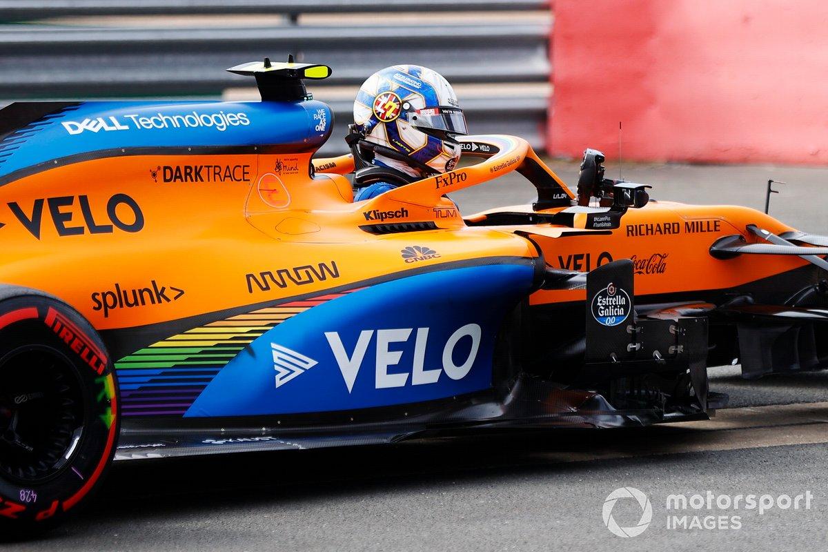 Lando Norris, McLaren MCL35 nel Parc Ferme