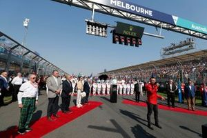 The Australian national anthem being sung prior to the start