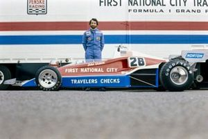 John Watson poses behind his Penske PC4 Ford