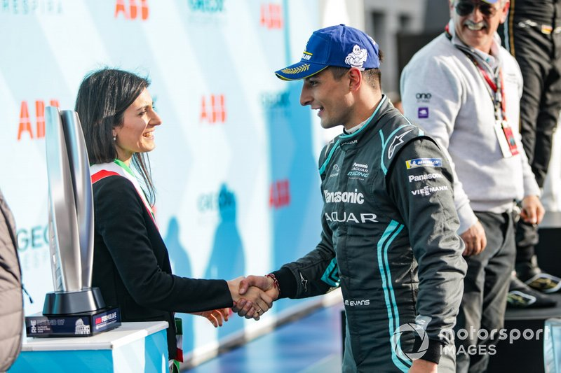 Mitch Evans, Panasonic Jaguar Racing, on the podium