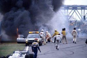 La monoposto di Riccardo Paletti, Osella FA1C-Ford, dopo l'incidente