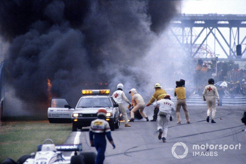 El coche de Riccardo Paletti, Osella FA1C-Ford después del accidente