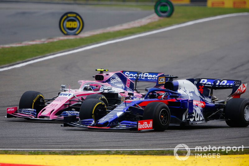 Lance Stroll, Racing Point RP19, lotta con Daniil Kvyat, Toro Rosso STR14