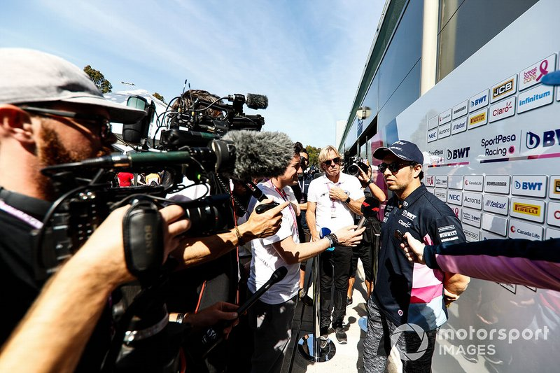 Sergio Perez, Racing Point, parla con la stampa
