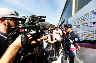 Sergio Perez, Racing Point talks to the press