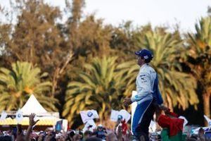 Antonio Felix da Costa, BMW I Andretti Motorsports, 2nd position, celebrates as he approaches the podium