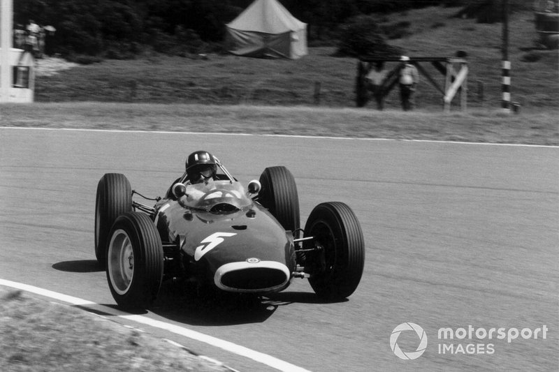 Graham Hill, BRM P57, sideways