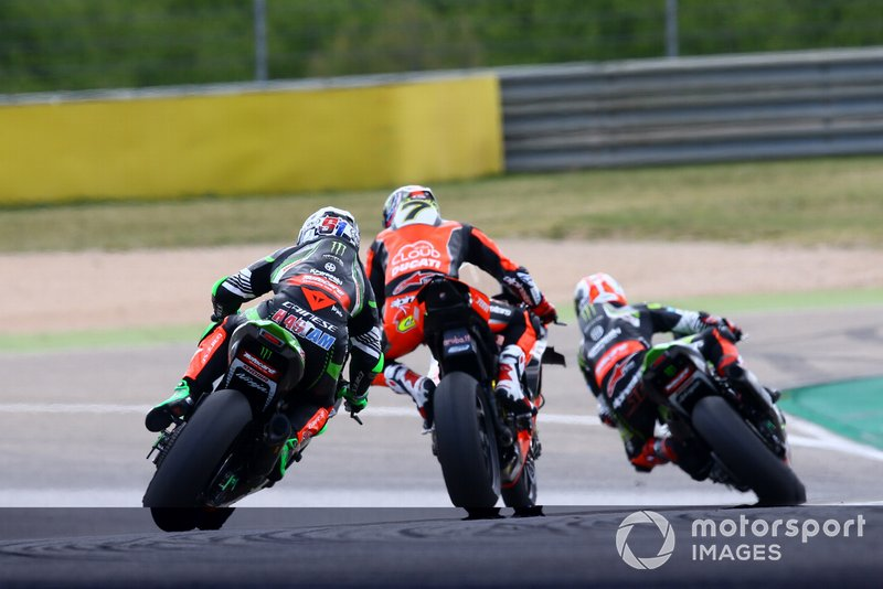 Leon Haslam, Kawasaki Racing, Chaz Davies, Aruba.it Racing-Ducati Team, Jonathan Rea, Kawasaki Racing
