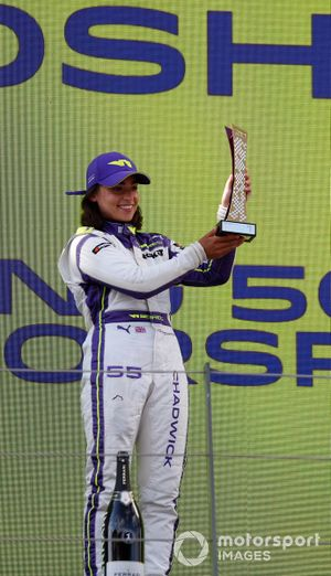 Jamie Chadwick, 1st position, with her trophy