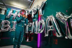 Sebastian Vettel, Aston Martin, in the garage on his birthday