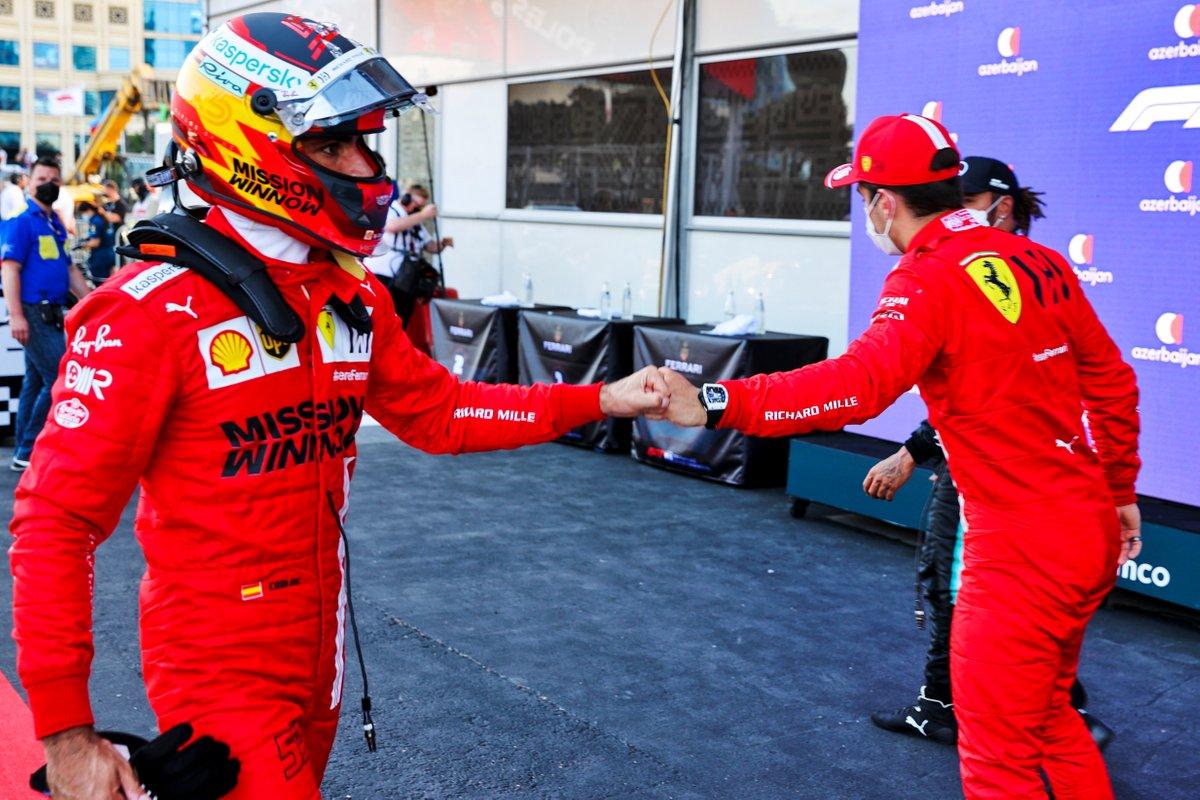 Polesitter Charles Leclerc, Ferrari and Carlos Sainz Jr., Ferrari