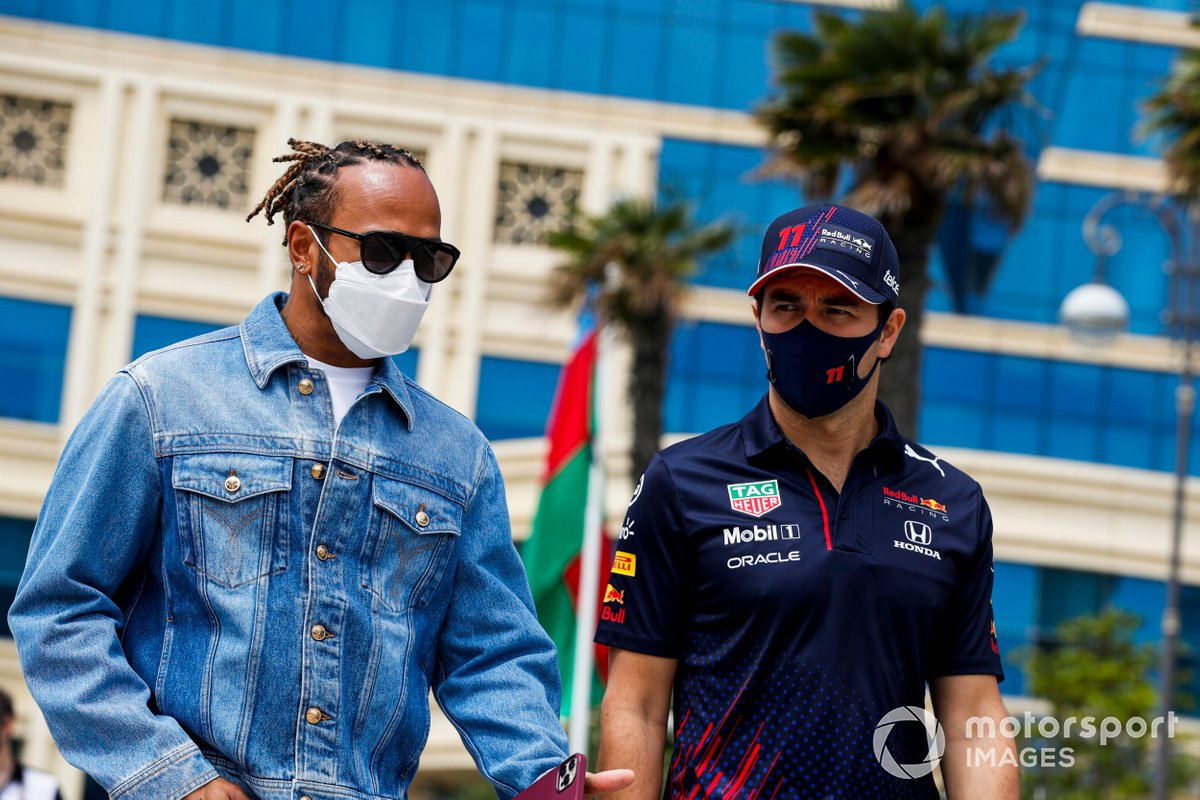 Lewis Hamilton, Mercedes y Sergio Pérez, Red Bull Racing