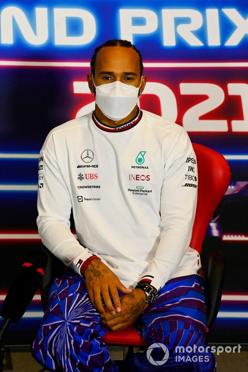 Lewis Hamilton, Mercedes, en la conferencia de prensa