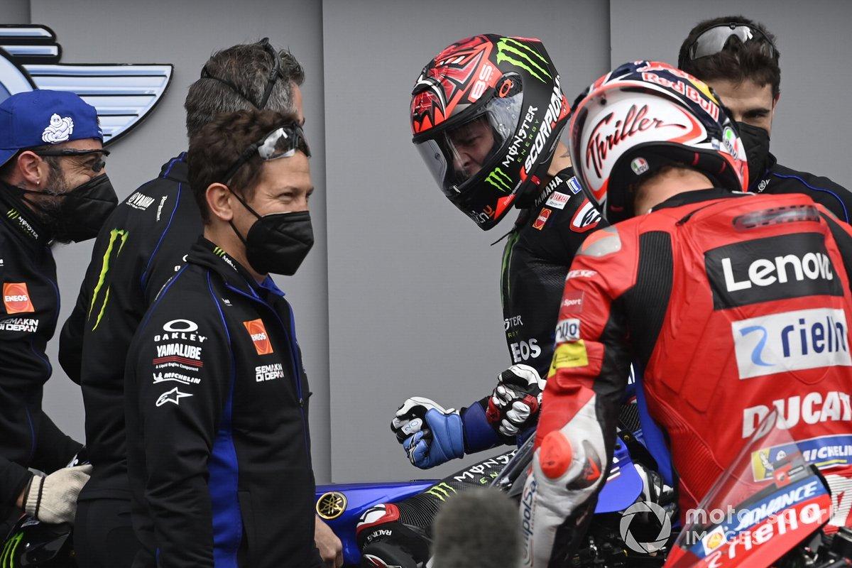 Ganador de la pole Fabio Quartararo, Yamaha Factory Racing y tercer puesto Jack Miller, Ducati Team